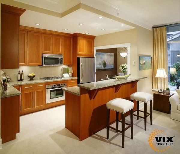 Tủ bếp gỗ tự nhiên- Tủ bếp bền đẹp – Nội thất Vix Furniture